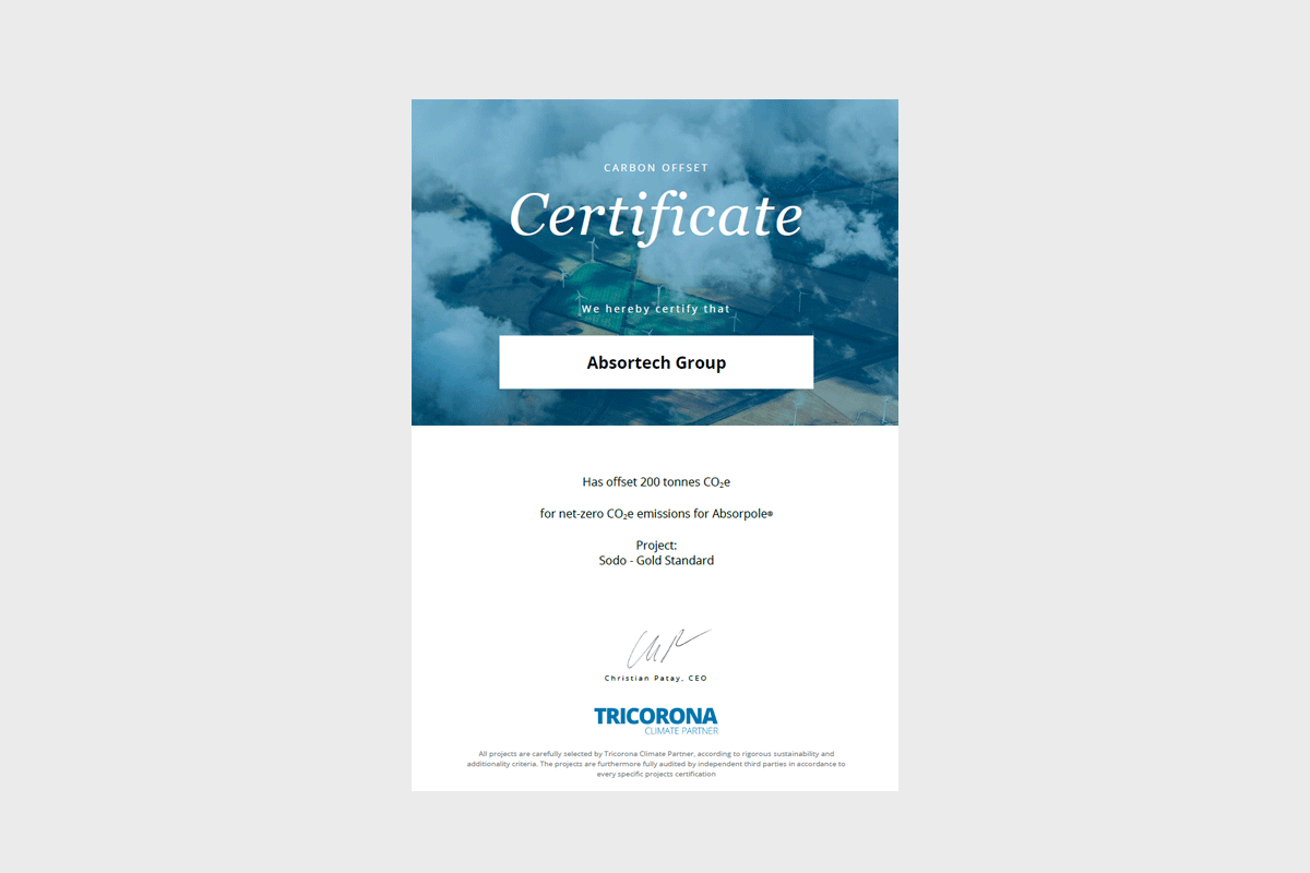 Preview of the certificated by Tricorona for Absortech Group.